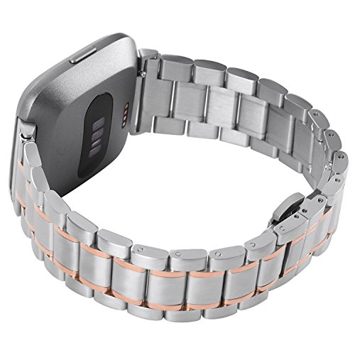 Fitbit Versa Armband Metall Mann,Ersatz Band Edelstahl Rose Gold,Smart Watch Uhruhrenarmband,Verstellbares Zubehör Männer Armbänder für fitbit Versa