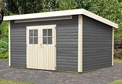 Karibu Woodfeeling Gartenhaus Kulpin 9 terragrau 28 mm Außenmaß (B x T): 364 x 304 cm Dachstand (B...
