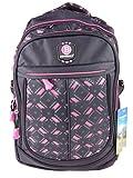 NEW BERRY NL6824 Rucksack für Schule Sport Freizeit Schulrucksack 22 Liter, viele Fächer, Tabletfach 33x42x15cm (pink schwarz)