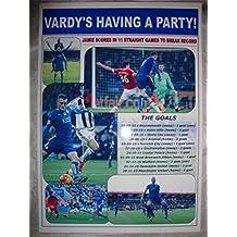 Jamie Vardy partituras en 11juegos para Leicester City–2015–recuerdo impresión