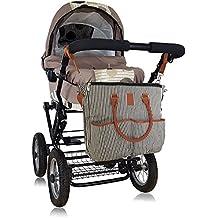Bolso cambiador para pañales, ropita de bebe, biberones - Incluye Cambiador Bebe impermeable - Para los Carritos de bebe y sillas de paseo - Bolso maternidad con Garantía y Envío Gratuito