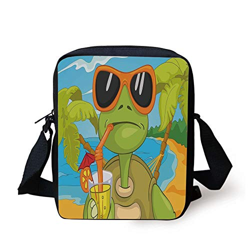 Turtle,Cool Sea Turtle with Sunglasses Drinking Cocktail at The Beach Cartoon,Green Orange Light Blue Print Kids Crossbody Messenger Bag Purse