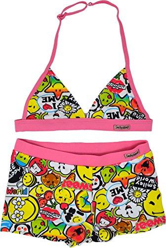 Smiley World Bikini Mädchen 2 Stück Badeanzug Alter 6 bis 12 Jahre (6 Jahre, Baby Pink)