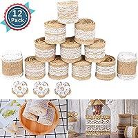 Rollo de cinta de encaje blanco, 12 rollos de cinta con borde de encaje blanco, perfecto para bodas, corbatas, correas, coronas, lazos, papel de regalo, regalo de árbol, manualidades