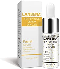 Dreamz Lanbena 24K Gold Anti Aging - Skin Firming Serum With Collagen, Hyaluronic Acid and Six Peptides 15ML