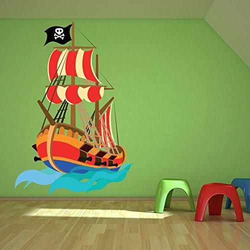 Preisvergleich Produktbild Pirat Wandaufkleber Piratenschiff Wandtattoo Kinder Jungen Schlafzimmer Wohnkultur Erhältlich in 8 Größen X-Groß Digital