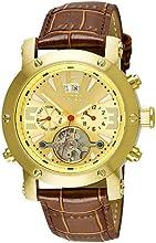 Comprar Aatos PrinosLGG - Reloj de caballero automático, correa de piel color marrón, caja de acero inoxidable bañado en oro