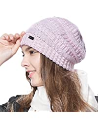 cda24ab55e75e3 FURTALK Ladies Knit Slouch Winter Hat - Wool Baggy Chunky Cable Beanie Hats  Women