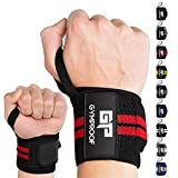 GYMPROOF - Premium Handgelenkbandagen im 2er Set - Wrist Wraps - für optimalen Trainingserfolg im Fitness, Bodybuilding, CrossFit, Kraftsport und Powerlifting [geeignet für Frauen & Männer] (schwarz/rot)