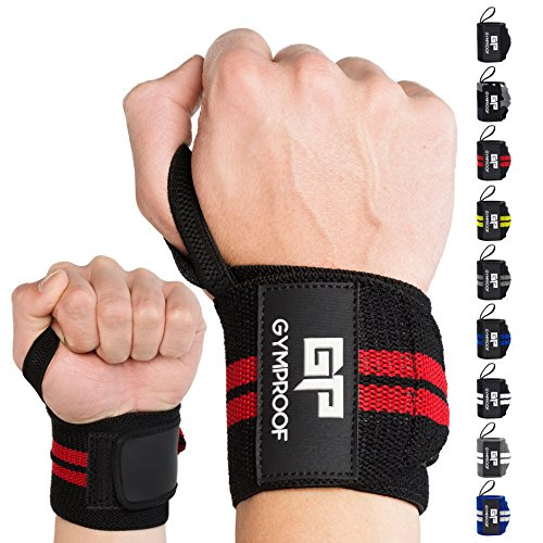 GYMPROOF - Premium Handgelenkbandagen im 2er Set - Wrist Wraps - für optimalen Trainingserfolg im Fitness, Bodybuilding, CrossFit, Kraftsport und Powerlifting [geeignet für Frauen & Männer] (schwarz/rot)