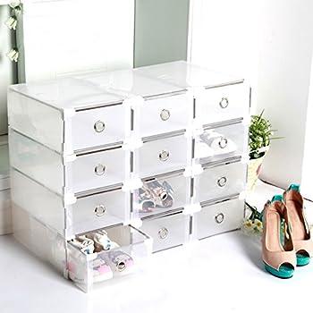 2e3396312f400 Vinteky® Organisateur des Chaussures Shoe Storage 10 Tiroirs Boîte de  Rangement Blanc Boîtes à Chaussures en Plastique Transparent Pliable  empilable 10 ...