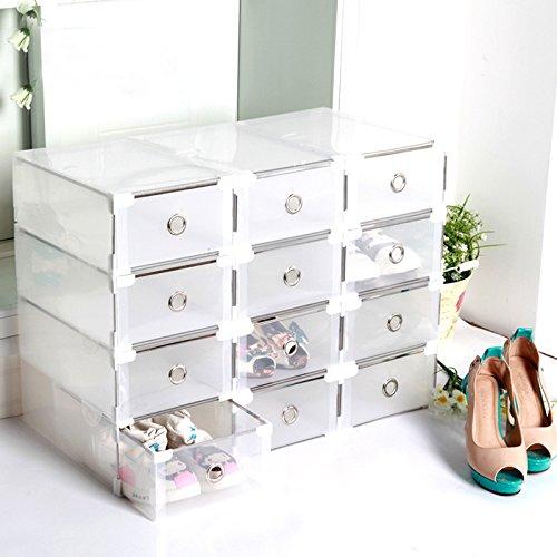 Vinteky Organisateur des Chaussures Shoe Storage 10 Tiroirs Boîte de Rangement Blanc/Boîtes à Chaussures en Plastique Transparent Pliable empilable 10 pièces Stockage Environ 30 x 18.5 x 9.5cm