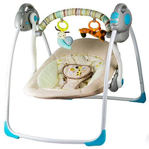 Babyschaukel Elektrisch mit Schaukelfunktion - Elektrische Babywippe, Babywiege – Einstellbare Schaukelfunktion, Verschiedene Melodien und Mobile mit 2 Spielzeugen - Netz- und Batteriebetrieb