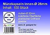 100 Münzkapseln 26mm, Geeignet für 2 Euro-Münzen, 1/2 oz Maple Leaf (Gold), 1/2 oz Nugget Känguru (Gold)