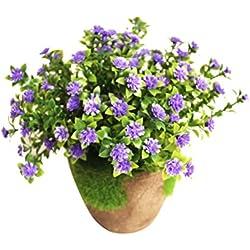 WINOMO Planta Artificial Potted Falsa Planta decorativa Bonsai Lifelike Flor para decoración del hogar (Azul)