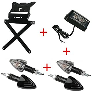 Kennzeichenhalter für Motorrad universal + 4Blinker + Kennzeichenbeleuchtung Kit zugelassen Lampa Gilera SMT 502004–04