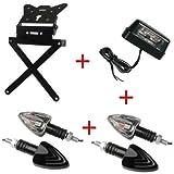 Kennzeichenhalter für Motorrad universal + 4Blinker + Kennzeichenbeleuchtung Kit zugelassen Lampa Honda FMX 6502005-2006