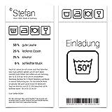 50 x Einladungskarten runder Geburtstag 50 Jahre Grad Geburtstagseinladungen - Waschanleitung
