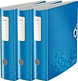 Leitz WOW Multifunktions-Ordner A4, Runder Rücken, 8,2 cm Breite, Gummibandverschluss, Kunststoff (3er Ordner | breit, blau metallic)