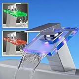 Grifo moderno, Grifo cascada, Grifo de cristal, grifo LED con luz RGB(tres colores), la luz cambia según la temperatura del agua, de estilo contemporáneo