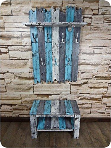 SHaBBy CHic ViNTaGe Garderoben Set mit Sitzbank & XXL Garderobe mit 7x3 Haken blau grau weiß (HXBXT: 115x7ox15 cm) aus Echtholz im used look ... rustikal Landhaus Stil