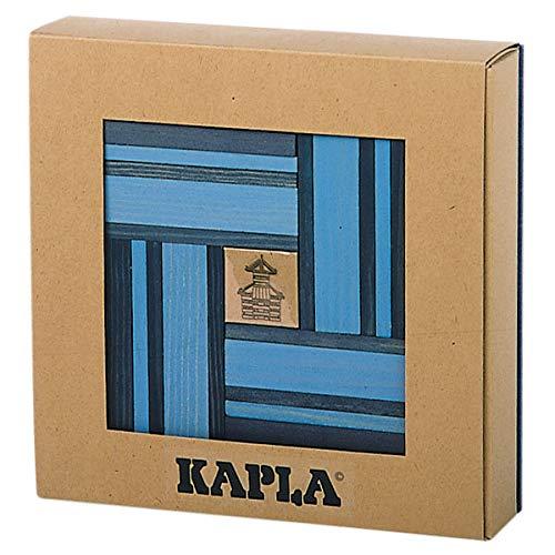 Kapla 9000105 Holzplättchen 40er Box Buch, Blau