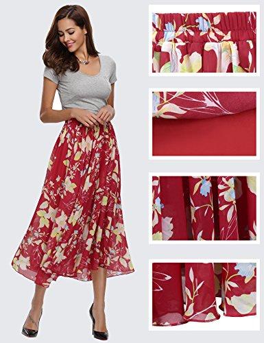 Abollria Gonna Lunga Primavera Gonne Donna Vita Alta Gonne Eleganti da Spiaggia per Andare al Mare Gonna con sottogonna Rosso