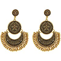 Young & Forever Tribal Muse Antique Gold Designer Moon Chandbali Earring For Girls Women E234