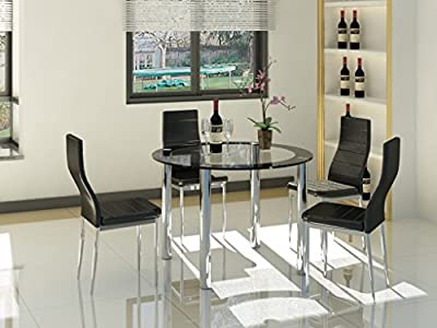 Round Glass and Chrome Modern 4 Seat Dining Furniture Black Chairs and Table Set - low-cost UK light shop.