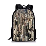 gthytjhv United States,Aerial York City Famous Town of The World North American Capital Image Decorative,Beige Tan Boy Girl School Backpack Mens Womens Sports Bag