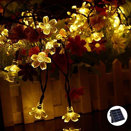 Décorations de Noël Guirlande solaire d'extérieur 50 LED 7 m étanche Fée Blossom Fleur lumières de jardin pour pelouse de terrasse Jardin