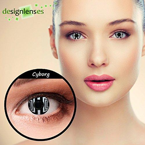 """Weiße Cyborg Kontaktlinsen für Halloween """"Cyborg"""" + gratis Kontaktlinsenbehälter"""