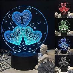 Idea Regalo - BIEE Ti Amo Cuore LED Lampada da Comodino 3D Illusion Luce Notturna Regalo di San Valentino