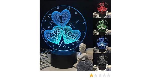 KAIMENG Je t'aime Coeur LED Lampe de Chevet Illusion 3D