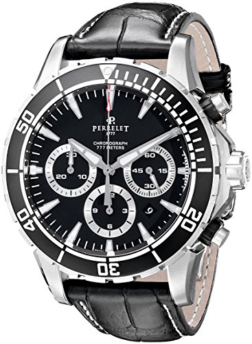 Perrelet Men's 45mm Crocodile Leather Band Steel Case Automatic Watch...