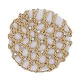POIUDE Haarnetz Praktisches Duttnetz für tolle Frisuren aus Stoff (mit Strass-Optik) Netz Bun Frisurenhilfe Stoff Knotennetz(Khaki, 10 cm)