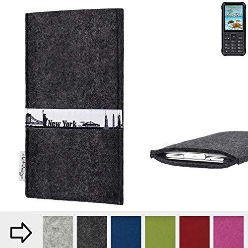 flat.design für Energizer H20 Schutzhülle Handy Tasche Skyline mit Webband New York - Maßanfertigung der Schutztasche Handy Hülle aus 100% Wollfilz (anthrazit) für Energizer H20
