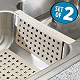 mDesign Set da 2 Tappetini per lavello Cucina - Due Accessori Cucina Anti-graffio per Doppio lavandino - Tappetino lavandino e Protezione per divisorio - Plastica Robusta - Talpa