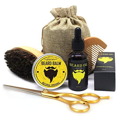 Preisvergleich Produktbild Huihuiya 6 Stücke Männer Bart Care Kit Bart Balsam Bart Ölbürste Kamm Schere Aufbewahrungstasche-Black & Yellow