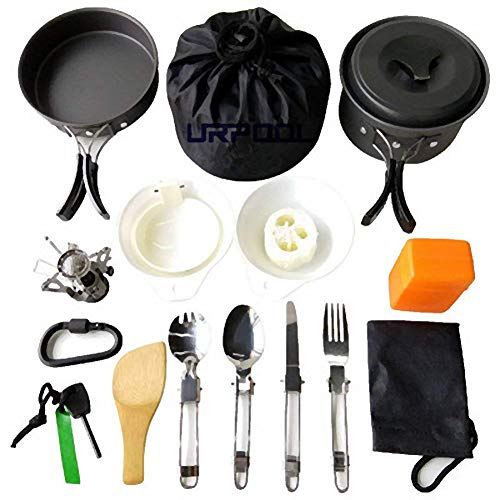 Fashion barra Tragbare Camping Kochgeschirr Mess kit Folding Cookset für Wandern Backpacking 14 Stück Leichte Durable Pot Pan Schalen Spork mit Nylontasche Outdoor Cook Ausrüstung (14 Stück)
