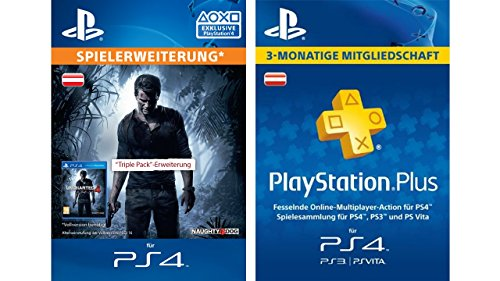 Uncharted 4 Triple Pack + PlayStation Plus Mitgliedschaft - 3 Monate [PS4 Code - österreichisches Konto]