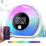 Sendowtek Wake Up Light, Despertador Luz, Reloj despertador digital con altavoces Bluetooth, despertador para niños con 3 voces naturales, 5 luces de colores para dormitorios/Adulto/Regalo/Amigos