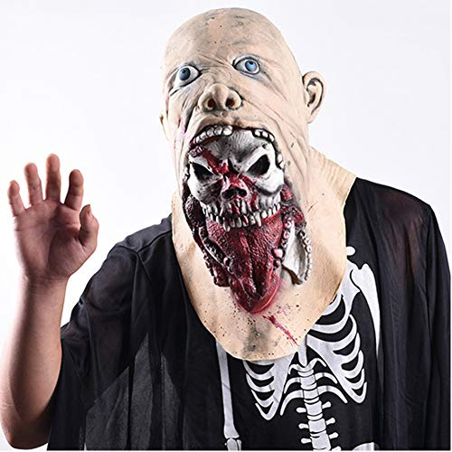 S+S Halloween Maske Kopfbedeckung Zombie Horror Rotten Tongue Haunted House Requisiten Walking Deadly Ekelhaftes Gesicht Scary Mask Latex Rubber (Scary Dämon Gesicht)