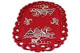 Espamira Tischdecke 30x45 cm oval WEIHNACHTEN Leinenoptik Deckchen Rot meliert ELCH (30x45 cm oval)