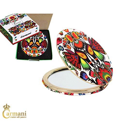Carmani - Placcato oro bronzo tasca, compatto, viaggi, Specchio decorato con motivo Folk