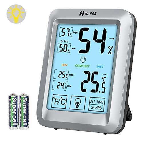 Habor Hygrometer Thermometer Innen, Raum Thermometer mit Hintergrundbeleuchtung, Touchscreen Luftfeuchtigkeitsmessgerät Innen Digitales Hygrometer Innen Hydrometer Feuchtigkeit für Babyraum, Büro, usw -