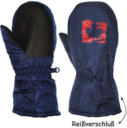 "Fausthandschuhe - mit Reißverschluß & langem Schaft - Gr. 11 bis 12 Jahre - "" dunkel blau - Blatt "" - LEICHT anzuziehen ! mit Daumen - Thermohandschuhe Fleece Futter - Kinderhandschuhe - Thermo gefüttert - Handschuh - wasserdicht + atmungsaktiv Thinsulate / Fausthandschuh Handschuhe - Reflektor - Kinder Jungen & Mädchen - Thermohandschuh - extra lang - Kind - Fäustlinge - dunkel blau"