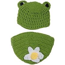 V-SOL Ropa De Fotografía Forma Animal Rana Verde Gorro Disfraz Para Bebé Infantil Recién Nacido 0-24 Meses