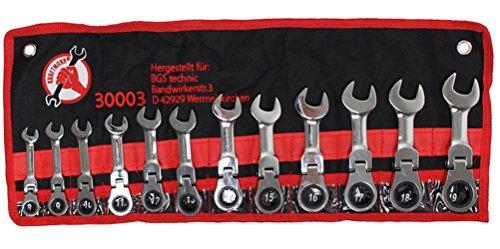 Kraftmann 30003 Jeu de clés mixtes à cliquet, courte pivotante, Argent, 8-19 mm, Set de 12 Pièces