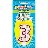 Unique Party - 37313 - Bougie à Paillettes d'Anniversaire Numéro 3 et Décoration pour Gâteau - Happy Birthday